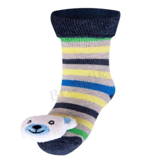 e70b78b4003 Kojenecké froté ponožky s chrastítkem Méďa 2