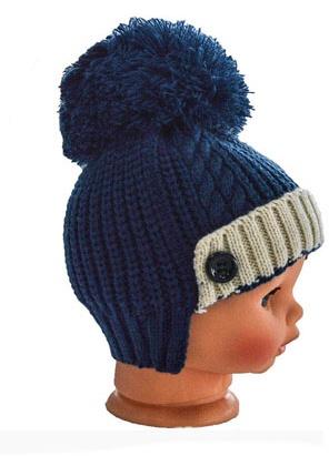 Kojenecká modrá čepice s bambulí  6a642bc761
