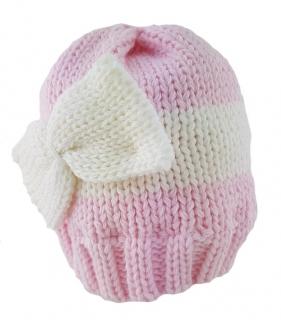 59b80e33e29 Kojenecká růžovobílá čepice s mašličkou empty